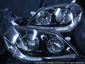 110系マークⅡ後期 ドレスアップヘッドライト アクリルファイバー&LEDイカリング&ウィンカークリア 仕様
