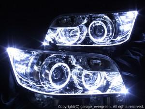 E15系 カローラルミオン 前期/後期 ドレスアップライト 後期 On Bリミテッド シルバーメッキインナーベース アクリルファイバー&4連イカリング&増設12発LED仕様
