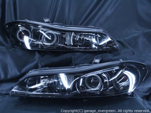 S15 シルビア ハロゲン車用 ブラック&LEDイカリング 仕様 ドレスアップヘッドライト