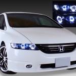 RB1 RB2 オデッセイ AFS無 レベライザ無  ドレスアップヘッドライト 白色12連高輝度LED&白色イカリング 仕様