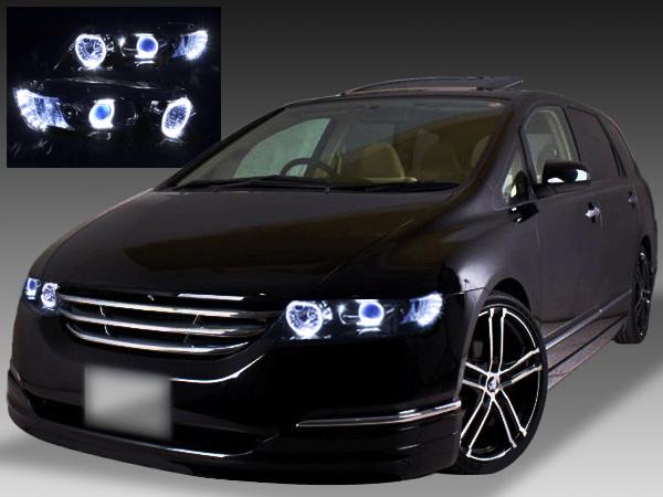 RB1/RB2 オデッセイ ドレスアップヘッドライト ブラック&白色12連高輝度LED&白色イカリング 仕様