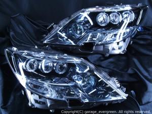 レクサスLS600h前期 8連LEDイカリング&サイドマーカー塗装 ヘッドライト