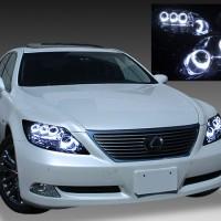 レクサス LS600h 前期 後方プリクラッシュ有り車用 8連LEDイカリング ヘッドライト d-047-LS600h ika prikrushnashi d-047-1