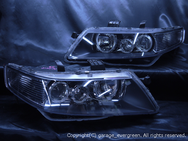 ホンダ CL7/8/9 CM2/3 アコード/アコードワゴン 純正HID車用 純正ドレスアップヘッドライト 6連LEDイカリング&高輝度白色LED12発増設&ウィンカークリア