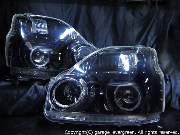日産 T31 エクストレイル 前期 純正HID車用 純正ドレスアップヘッドライト 4連LEDイカリング&高輝度白色LED18発増設&インナーブラッククロム