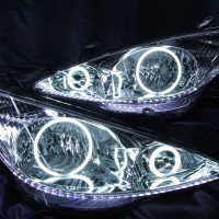 ★30 エスティマ 前期★白色CCFLイカリング4連装&高輝度LEDアンダーライン仕様 レンズクリーニング・コーティング済み オーダー加工ドレスアップヘッドライト