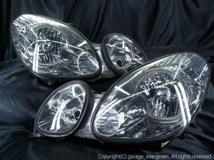 ★16 アリスト 前期 後期★高輝度白色LEDイカリング4連装 レンズクリーニング・コーティング済み オーダー加工ドレスアップヘッドライト