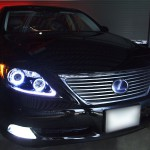 ★レクサス LS460 前期★高輝度白色LEDイカリング4連装&増設高輝度LED インナーブラッククロム塗装仕様 レンズクリーニング・コーティング済み オーダー加工ドレスアップヘッドライト