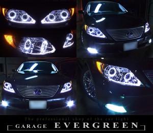 ★レクサス LS460 前期★イカリング4連装&増設高輝度LED レンズクリーニング・コーティング済み オーダーLED加工ドレスアップヘッドライト