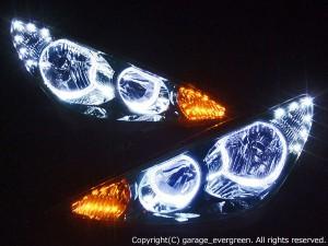 ★30 エスティマ 後期★高輝度白色LEDイカリング4連装&高輝度橙色LED&白色LED増発 レンズクリーニング・コーティング済み オーダー加工ドレスアップヘッドライト