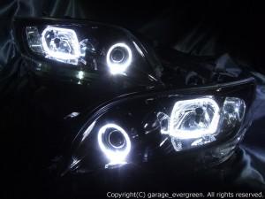 ★ヴァンガード★高輝度白色LEDイカリング4連装 インナー艶消しブラック塗装仕様 レンズクリーニング・コーティング済み オーダー加工ドレスアップヘッドライト