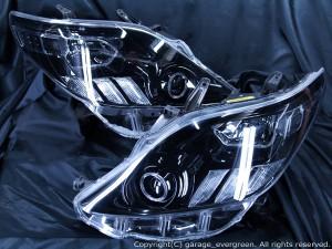 ★20 アルファード 前期後期★イカリング4連装&増設高輝度LED&インナーブラッククロム塗装仕様 レンズクリーニング・コーティング済み オーダーLED加工ドレスアップヘッドライト
