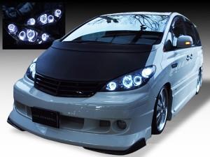 AHR10W エスティマ ハイブリットブラック&LEDイカリング ヘッドライト