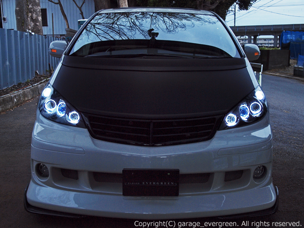 AHR10W エスティマ ハイブリッド 前期ベース ブラック&白色LEDイカリング ドレスアップヘッドライト