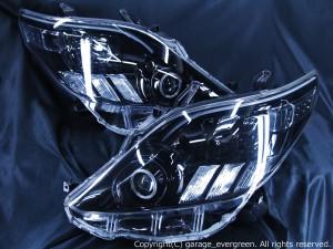 20/25系 アルファード AFS無・純正HID車用ヘッドライト ブラック&ファイバー&イカリング&増設白・橙LED仕様