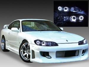GF-S15 15系シルビア ドレスアップヘッドライト 純正加工品 ハロゲン車ベース 4連白色LEDイカリング 仕様