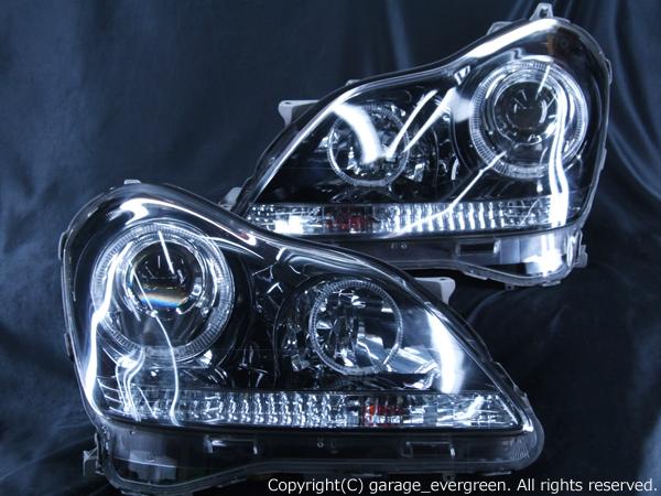 18系 クラウンマジェスタ ドレスアップヘッドライト <純正加工品 純正HIDバーナー・バラスト付>インナーブラッククロム&4連イカリング&増設LED 仕様 d-352