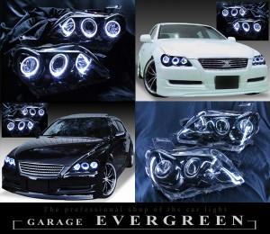 高輝度白色LEDイカリング6連装&ブラック 仕様 GRX120/GRX121/GRX125 マークX後期 HID車用ヘッドライト