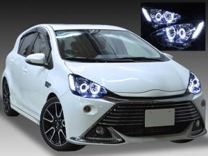 NHP10 アクア 純正LEDロービーム車用 4連イカリング&増設LED ドレスアップヘッドライト