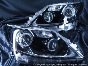 レクサス LS460 前期 ドレスアップヘッドライト 4連イカリング&増設LED&サイドマーカー・インナーブラック