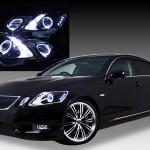 ブラック&イカリング4連装&増設高輝度LED インナーブラッククロム 仕様 純正加工品 レクサスGS GRS19 前期・後期 ドレスアップヘッドライト