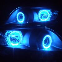 ★ヴァンガード★高輝度青色LEDイカリング4連装 インナー艶消しブラック塗装仕様 レンズクリーニング・コーティング済み オーダー加工ドレスアップヘッドライト