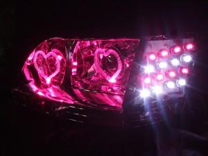 ★17 マジェスタ 前期後期★高輝度橙色LED&桃色イカリング4連装 社外ダブルプロジェクターインストール仕様 レンズクリーニング・コーティング済み オーダー加工ドレスアップヘッドライト