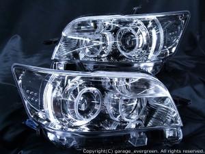 ★E15 カローラルミオン★高輝度白色LEDイカリング4連装&高輝度白色LED増発 レンズクリーニング・コーティング済み オーダー加工ドレスアップヘッドライト