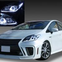 ZVW30系 プリウス 後期 HID(キセノン)ベース ヘッドライト <ラインポジション白色LED色変え> ■純正新品ヘッドライト加工品■ イカリング&LED 仕様