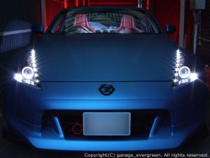 Z34 フェアレディZ 純正加工 ドレスアップヘッドライト ブラック&イカリング&高輝度LED増設18発 仕様