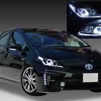 ZVW30系 プリウス 後期 キセノンベースヘッドライト ラインポジション白色LED打替え ブラック&イカリング&高輝度白色LED仕様