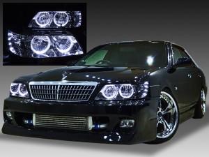 C35 ローレル後期 メダリスト ドレスアップヘッドライト 純正加工品 白色LEDイカリング4連装&増設高輝度LED 仕様