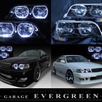 ブラック&4連高輝度LEDイカリング仕様 限定色 インナーブラッククロム JZX100系チェイサー ツアラーV/S ドレスアップヘッドライト