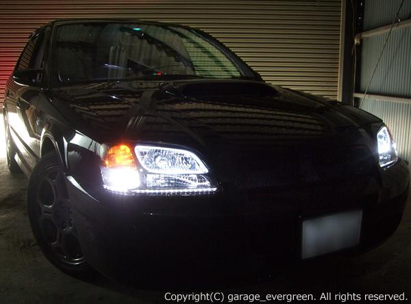 BE/BH/B4 レガシィ 前期 A・B・C型 ヘッドライト 白色イカリング&アンダーライン&高輝度LED増設 仕様