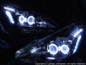 ZVW40系 プリウスα 前期 純正LEDロービーム車用 <限定色 インナーブラッククロム>純正加工品 ブラック&イカリング&増設24連LED ドレスアップヘッドライト