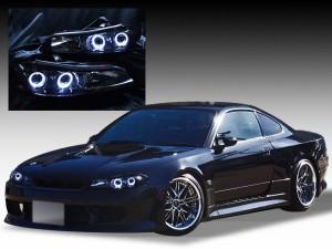 S15 シルビア ハロゲン車用 <限定色 インナーブラッククロム>純正加工品 ブラック&LEDイカリング 仕様 ドレスアップヘッドライト