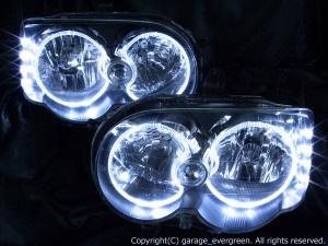 イカリング4連装&高輝度LED増設仕様 <純正HID バーナー・バラスト付> 純正加工品 ムーヴ カスタム L150 L160系 後期 ドレスアップヘッドライト