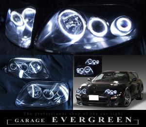 高輝度LEDイカリング6連装 仕様 <希少 ブラックインナー 後期ベース> 純正加工品 80スープラ 後期 ドレスアップヘッドライト
