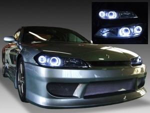 ■社外HIDキット付き■ GF-S15 15系シルビア ハロゲン車用 <希少 Lパッケージ 純正シルバーインナーベース> 4連白色LEDイカリング ドレスアップヘッドライト