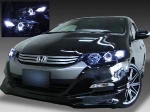 ZE2/ZE3 インサイト 前期・後期 純正HID車用 <限定色 インナーブラッククロム> 純正加工品 ブラック&イカリング&LED増設 仕様 ドレスアップヘッドライト