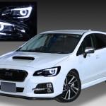 VM4/VMG レヴォーグ ドレスアップヘッドライト <LEDロービームベース> 純正加工品 ポジション白色LED色替え&ブラック&LEDイカリング 仕様