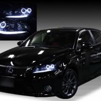 レクサスCT 200h 前期/中期/後期ドレスアップヘッドライト <純正加工 LEDロービームベース> ポジション白LED色替え&ブラック&LEDイカリング仕様