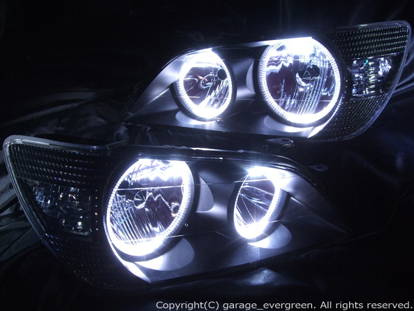 SXE10/GXE10 アルテッツァ 前期 ブルーメッキリフレクター <新品 純正メイクアップヘッドライト ベース> ブラック&4連白色イカリング&ウィンカークリア 仕様