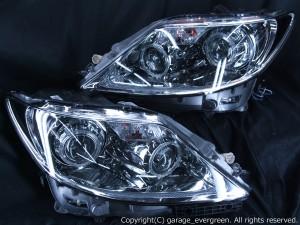 レクサス LS460前期 ドレスアップヘッドライト <限定 ブラックサイドマーカー 仕様>純正加工品 4連イカリング&増設LED&サイドマーカー塗装