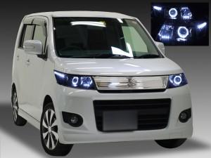 MH23S系 ワゴンR スティングレー 純正HID車用 ■後期 純正インナーブラックベース■ 2連イカリング&高輝度LED20発 仕様 ドレスアップヘッドライト <前期・後期ともにお取り付け可能です>