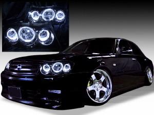 ■純正HID付き■ Y34系グロリア 後期 <限定色 インナーブラッククロム>純正加工品 ブラック&6連LEDイカリング ドレスアップヘッドライト