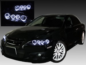 GG/GY系 アテンザ ■純正HIDバーナー・バラスト付■ <インナー ブラッククロム塗装> 純正加工品 インナーブラック&8連LEDイカリングヘッドライト
