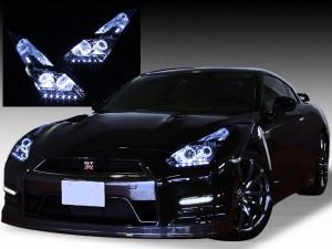 R35 GT-R 前期/中期用 <純正加工品 ドレスアップヘッドライト> 4連白色LEDイカリング&増設白色LED仕様