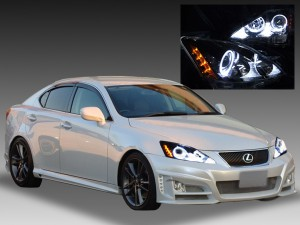 レクサス IS 250/350/F 前期・中期用 イカリング&増設LED20発&ブラック 仕様 <限定色 インナーブラッククロム>純正加工品 ドレスアップヘッドライト