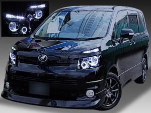 ZRR70系 前期 VOXY ヴォクシー 純正HID車用 <限定色 インナーブラッククロム> ブラック&4連イカリング&高輝度LED増設 仕様 純正加工品 ドレスアップヘッドライト